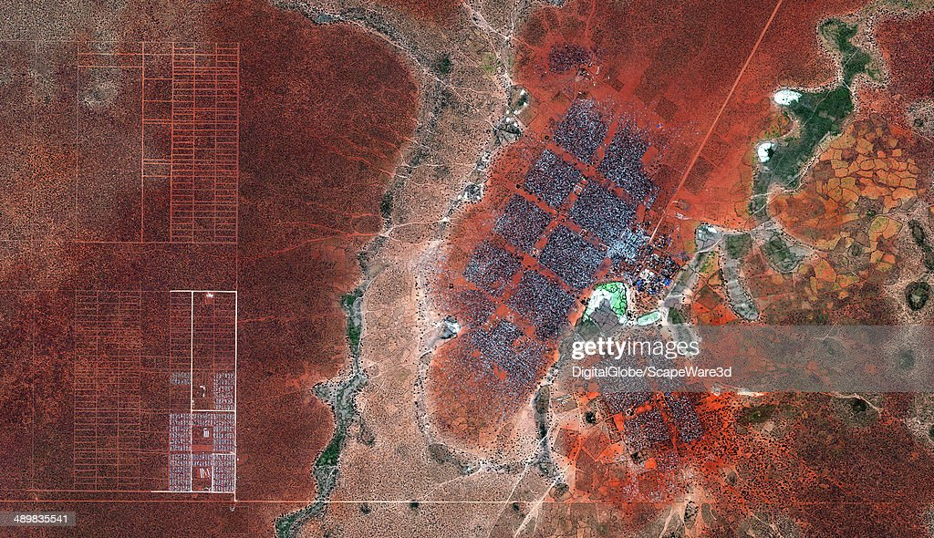 This is DigitalGlobe satellite imagery of the Hagadera Refugee Camp south of Dadaab Kenya Imagery collected on January 15th 2012