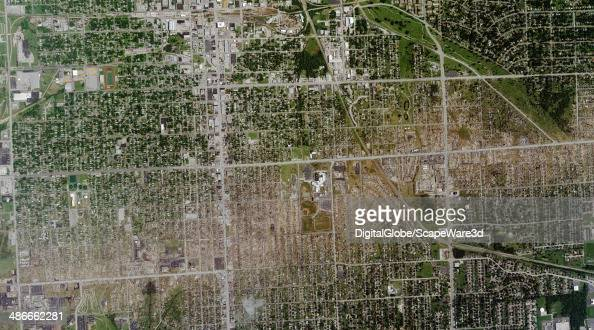 This is DigitalGlobe satellite imagery of the path of the May 22 2011 EF5 tornado that tore through Joplin Missouri The tornado scored a direct...