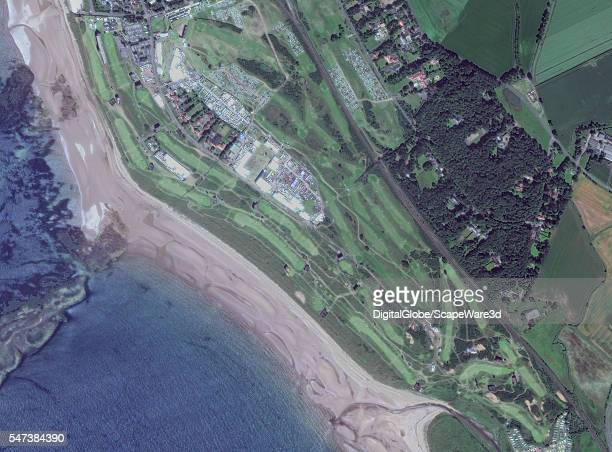 This is DigitalGlobe Satellite overview imagery of the 1st day of the 145th Open at Royal Troon This image was collected by the Worldview2 in an...