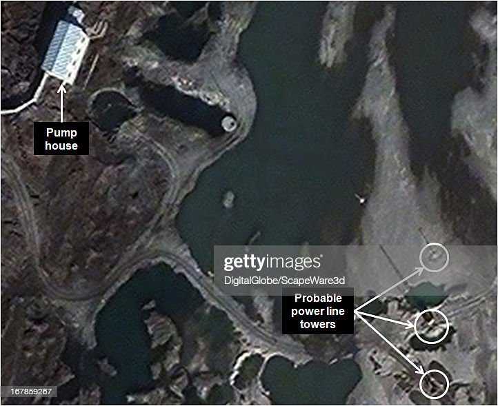 """This is Figure 8. a time progression of the experimental light water reactor (ELWR) development at the Yongbyon Nuclear Facility in North Korea. Featured in """"Start-Up of North Korean Experimental Light Water Reactor Could Begin by Mid-2013 If Fuel is Available,"""" published on 38 North. Figure 8: November 13, 2012 (power line towers on the sandbar)."""