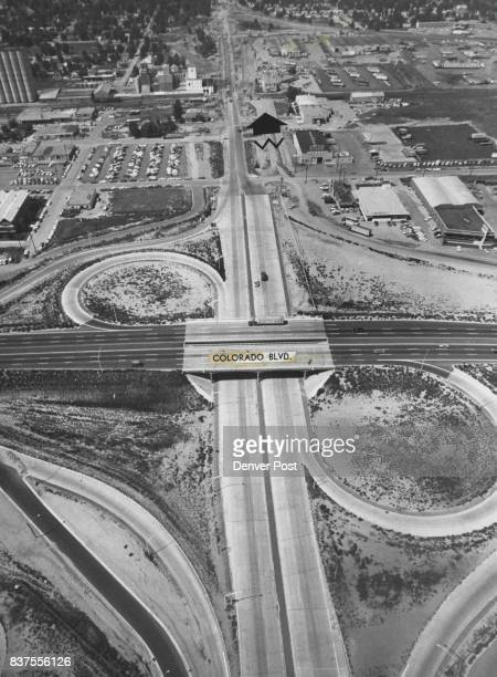 This is interchange of Colorado Blvd looking west on 46th Ave which is completed and is normal except for two permanent deviations Traffic southbound...