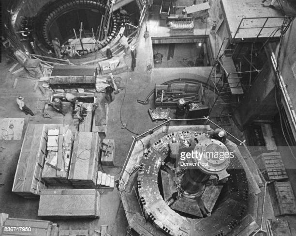 This is main floor of the generator room looking down the main hatch in the power plant roof machines will develop more than 300000 horsepower...
