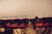'This is my story' typed using an old typewriter