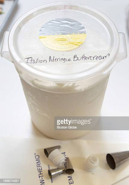 This is one of the containers of Italian meringue buttercream frosting that Vicki Lee Boyajian will take to California Vicki Lee Boyajian of Vicki...