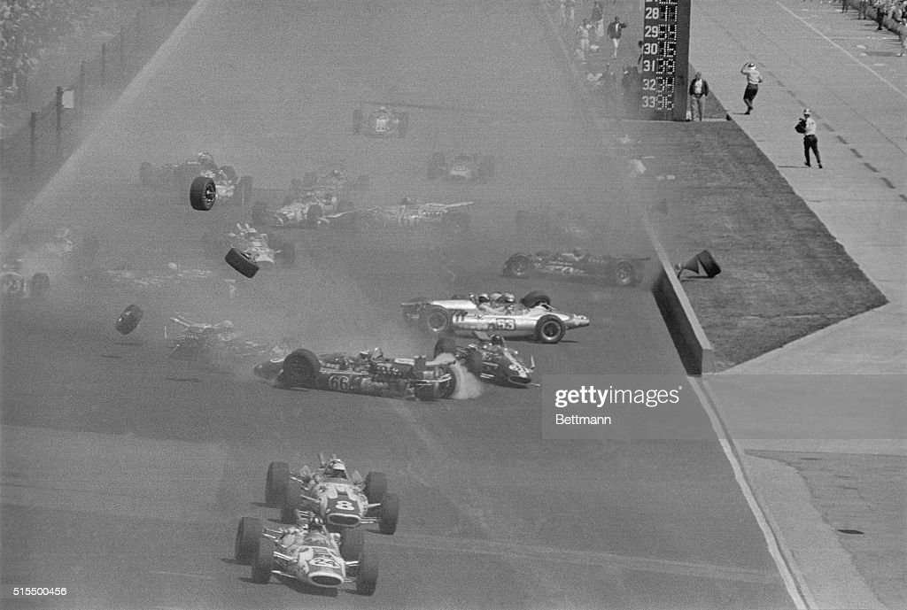 This is the 2nd half of a 4way sequence of crashing race cars The cars shown here continued to spin and crash into each other throwing wheels and...