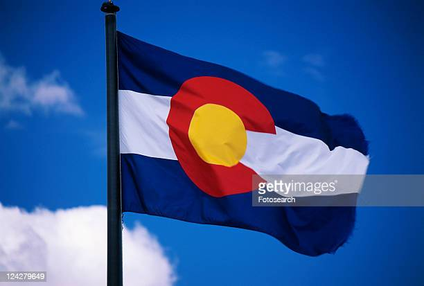 This is the Colorado State Flag, waving in the wind situated on a flag pole