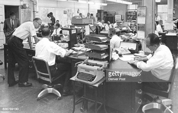 This is The Denver Post newsroom from which KLZTV and radio will broadcast election night coverage through cooperative reporting by the newspaper and...