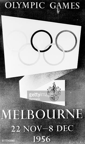 This is the design chosen as the official poster for the 1956 Melbourne Olympic Games to be held in the Australian City The five rings of the...