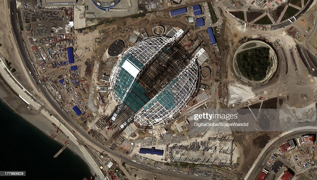 This is the 'Fisht' Olympic Stadium under construction in Sochi, Russia captured by a DigitalGlobe Satellite on August 22, 2013 in preparations for the 2014 Olympic Games