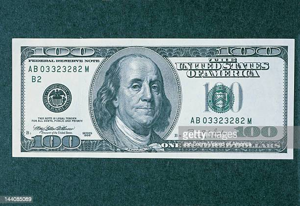 This is the front side of the new 100 dollar bill It shows the new larger portrait of Ben Franklin in the center