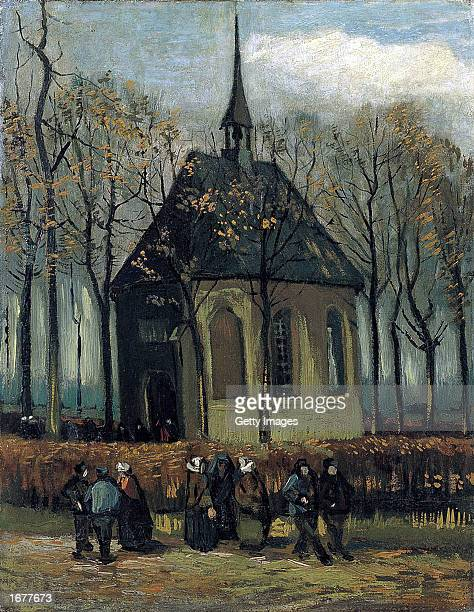 This is the image of the 1882 painting by Dutch artist Vincent van Gogh 'Congregation Leaving the Reformed Church in Nuenen' one of the two Van Gogh...