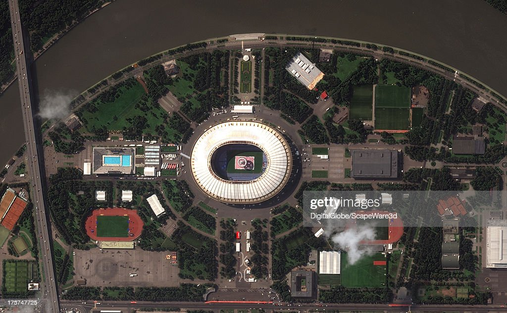 This is the Luzhniki Stadium in Moscow captured on August 7th, 2013 in preparations for the 2013 IAAF World Championships.
