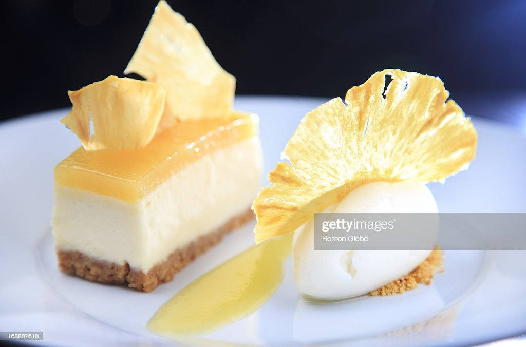 This is the pineapple gelee cheesecake with pineapple chips, graham crumb with and lime sorbet - $12.