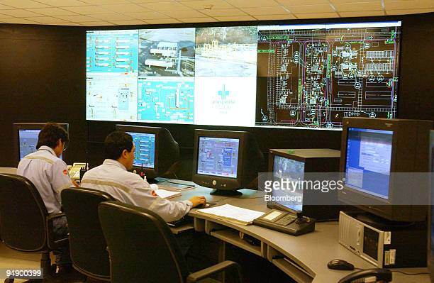 This is the Pluspetrol natural gas pumping station control room on the Camisea field in Peru's Amazaon Rain Forest on August 4 2004 Camisea field is...