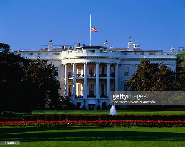 This is the White House in daylight during the summer It is located on Pennsylvania Avenue This is the home of the President of the United States