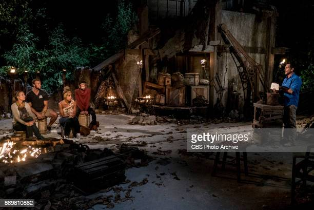 'This is Why You Play Survivor' Chrissy Hofbeck John 'JP' Hilsabeck Ali Elliott Ryan Ulrich and Jeff Probst at Tribal Council on the sixth episode of...