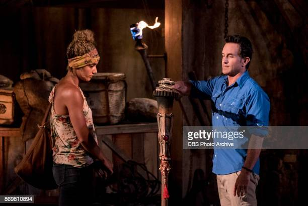 'This is Why You Play Survivor' Jeff Probst extinguishes Ali Elliott's torch at Tribal Council on the sixth episode of SURVIVOR 35 themed Heroes vs...