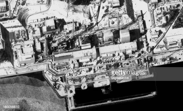 This January 15 satellite image shows a section of the Fukushima power plant and focuses on the four reactors that sustained the most damage in the...