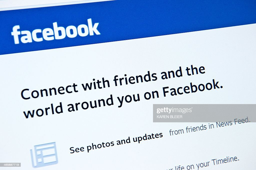 This January 30 2014 photo taken in WashingtonDC shows the splash page for the social media internet site Facebook US stocks moved higher Thursday in...