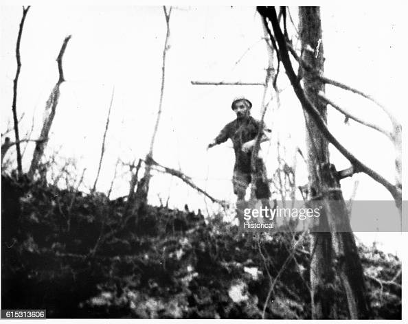 This Japanese soldier had just hurled a Bangalere torpedo toward a Marine tank in the Palau Islands but was struck by a bullet in the next instant...