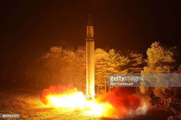 This July 28 2017 picture released from North Korea's official Korean Central News Agency on July 29 2017 shows North Korea's intercontinental...