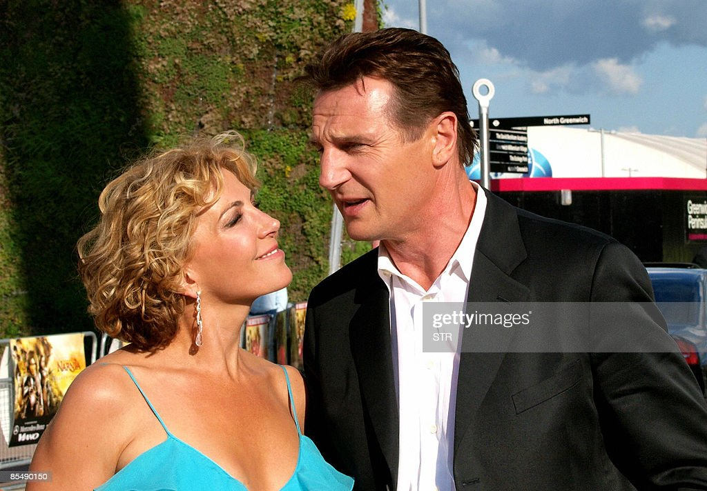 This June 19, 2008 file photo shows actor Liam Neeson and his actress wife Natasha Richardson arriving for the British premiere of the latest film 'The Chronicles of Narnia-Prince Caspian', in London's Greenwich. Actress Natasha Richardson has died following a ski accident, a spokesman for her actor husband Liam Neeson said in a statement on March 18, 2009. AFP PHOTO / Files / Max Nash