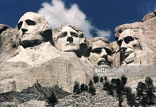 This June 1995 photo shows Mt Rushmore in Keystone South Dakota Sculptor Gutzon Borglum started work on Mt Rushmore 10 Aug 1927 and continued for 14...