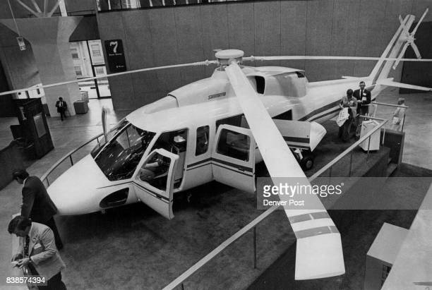 This kingsize helicopter is the Sikorsky '76 one of several helicopter displays among the many commercial aircraft exhibits at Currigan week as part...