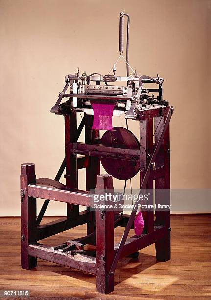 This knitting machine although made in about 1770 is similar to the original frame invented by Reverend William Lee in 1589 Knitting when a surface...