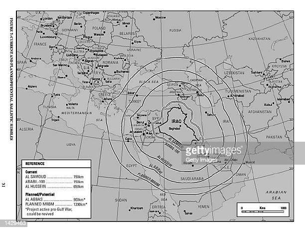 This map taken from the British government's 50page report on Iraq's weapons of mass destruction capability released September 24 2002 shows the...
