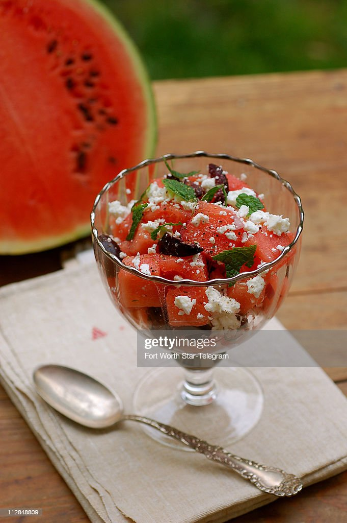 This Mediterranean-style salad, starring watermelon along with ...