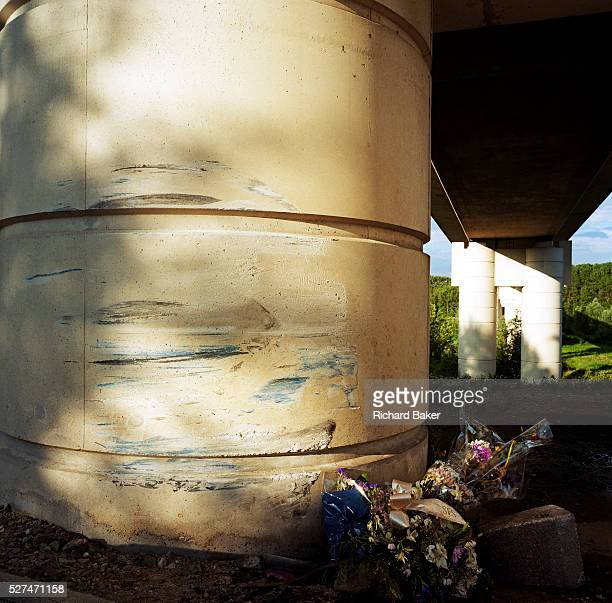 This memorial has been placed where a young man called Michael died beneath the TGV and Eurostar train overpass at Goussainville France If we drove...