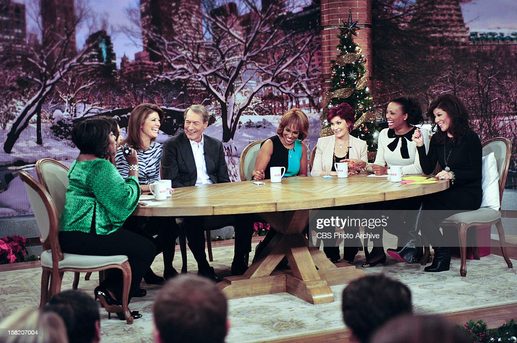 "This Morning"" co-anchors Gayle King, Charlie Rose and Norah O'Donnell drop by the set of THE TALK while the show broadcasts from New York City, Monday, December 10, 2012 on the CBS Television Network. Sheryl Underwood, from left, Sara Gilbert, Norah O'Donnell, Charlie Rose, Gayle King, Sharon Osbourne, Aisha Tyler and Julie Chen, shown."