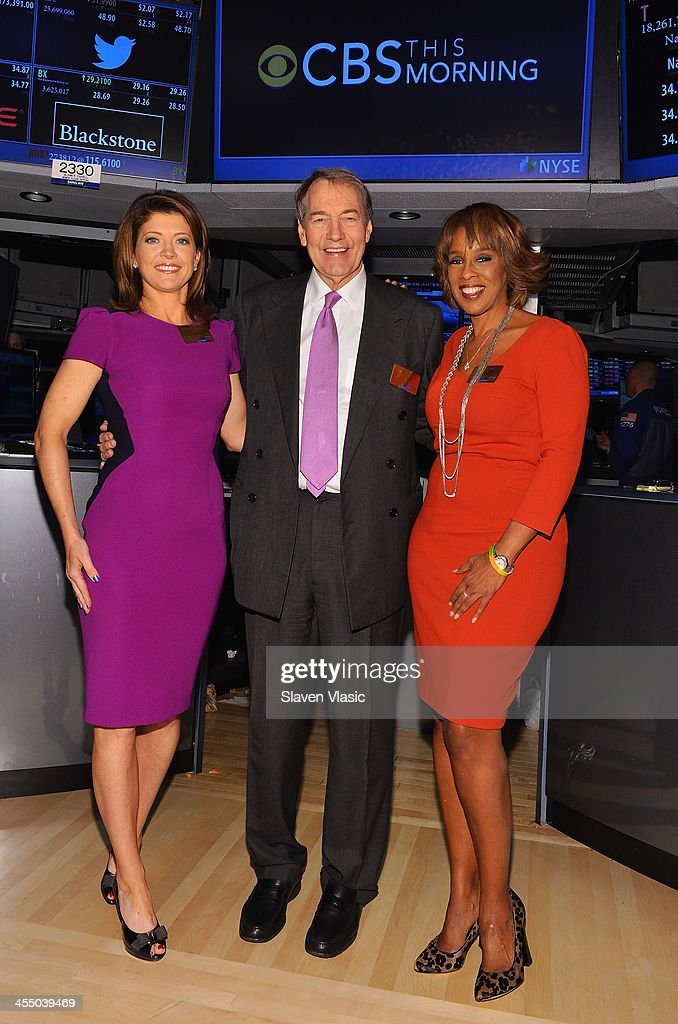 'CBS This Morning' co-hosts Norah O'Donnell, <a gi-track='captionPersonalityLinkClicked' href=/galleries/search?phrase=Charlie+Rose&family=editorial&specificpeople=535420 ng-click='$event.stopPropagation()'>Charlie Rose</a> and <a gi-track='captionPersonalityLinkClicked' href=/galleries/search?phrase=Gayle+King&family=editorial&specificpeople=215469 ng-click='$event.stopPropagation()'>Gayle King</a> visit the New York Stock Exchange on December 10, 2013 in New York City.