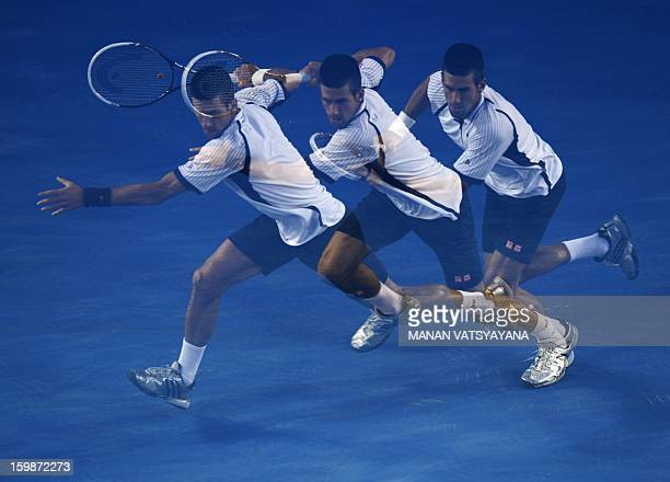 This multiple exposure photograph shows Serbia's Novak Djokovic preparing for a return against the Czech Republic's Tomas Berdych during their men's...