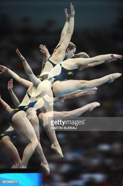This multiple exposure photograph shows silver medalists from Australia Melissa Wu and Briony Cole compete during the women's 10m synchronised...