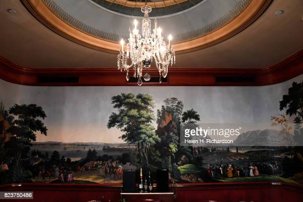 This mural inside the Independence room at the Brown Palace Hotel is an 1834 Zuber mural with scenes from prerevolutionary America and is actually...