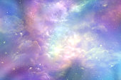 Multicolored ethereal cosmic sky scape with fluffy clouds, stars, planets, nebulas, and bright light depicting Heaven