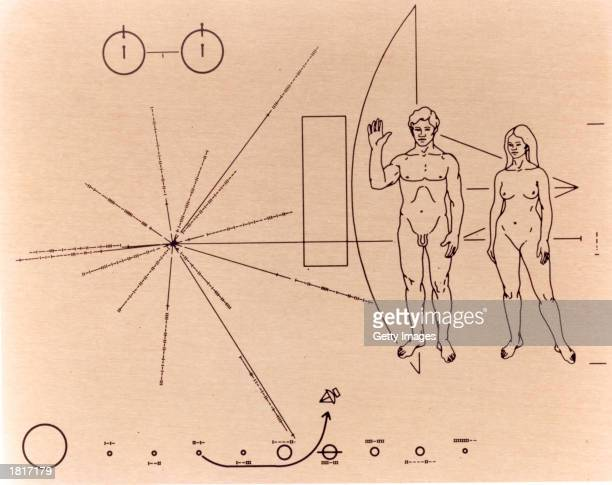 This NASA handout image shows the goldanodized aluminum plaque that was attached to the Pioneer 10 spacecraft before it was launched into space on...