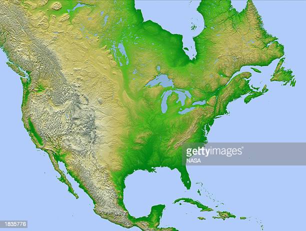 This NASA image is an highresolution topographic map created with data collected in Shuttle Radar Topography Mission and released on March 7 2003 in...