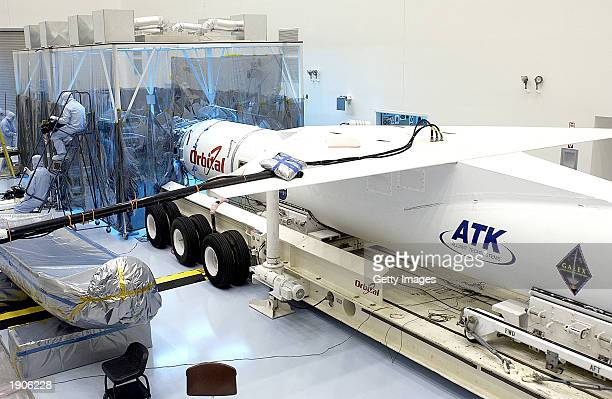 This NASA photo shows the Pegasus XL launch vehicle which will carry the Galaxy Evolution Explorer into orbit April 7 2003 at Kennedy Space Center...