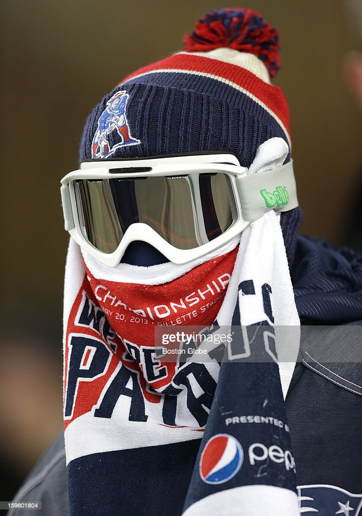 This New England Patriots fan was showing his colors as he bundled up against the wind as the New England Patriots and the Baltimore Ravens played in the AFC Championship Game at Gillette Stadium.