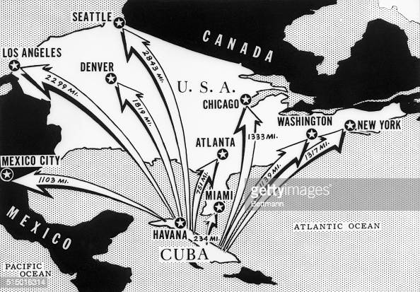 This newspaper map from the time of the Cuban Missile Crisis shows the distances from Cuba of various cities on the North American Continent