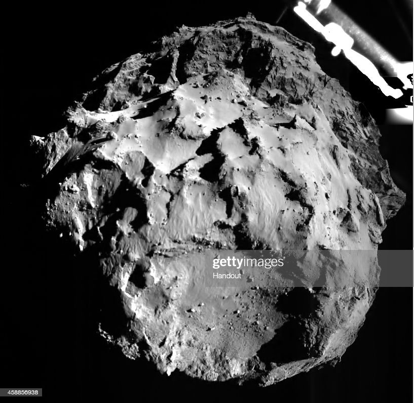 This November 12 2014 handout photo provided by the European Space Agency shows comet 67P/CG acquired by the ROLIS instrument on the Philae lander...