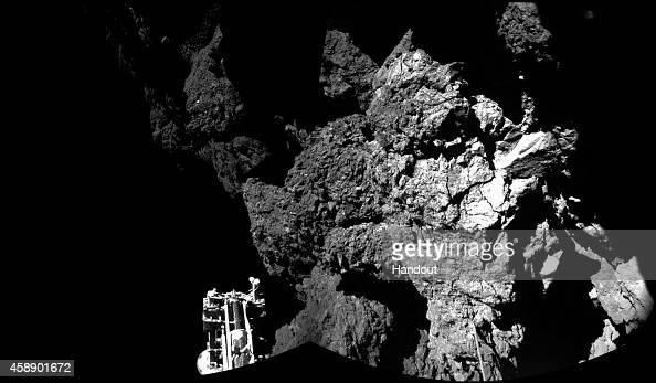 This November 13 2014 handout photo provided by the European Space Agency shows the surface of the 67P/ChuryumovGerasimenko comet as seen from the...