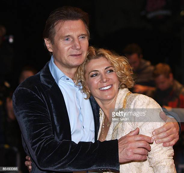 This October 17 2008 file photo shows actor Liam Neeson with his actress wife Natasha Richardson during the British premiere of his latest film 'The...