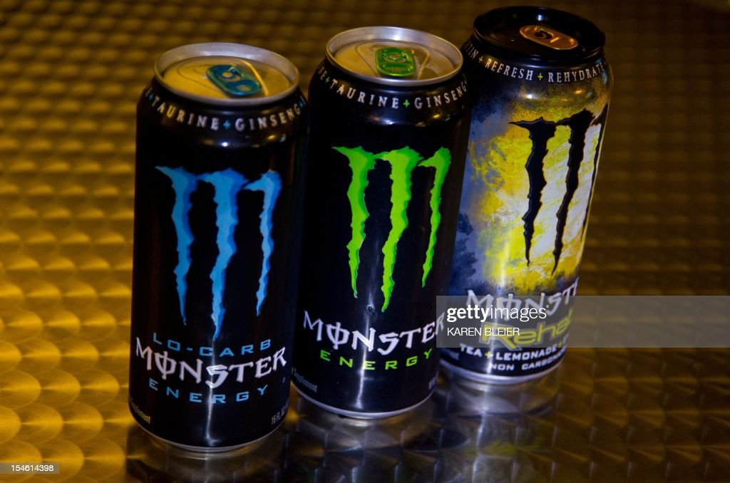 This October 23, 2012 photo illustration shows a variety of Monster Energy drinks in Washington, DC. The US Food and Drug Administration is investigating five deaths and a heart attack for possible links to consumption of Monster Energy drinks, an agency spokeswoman said Tuesday. 'I can verify that FDA has received five adverse event reports of death and one of heart attack possibly associated with Monster Energy drink,' said Shelly Burgess in an email. Burgess cautioned that such reports 'serve as a signal to FDA and do not prove causation between a product or ingredient and an adverse event.' The family of an adolescent, Anais Fournier, who died of an arrhythmia in December 2011, allegedly after drinking two cans of Monster Energy over a 24 hour period, brought suit Friday in California against Monster Beverage. Her parents accused the company of not warning consumers of the potential dangers of its product. AFP PHOTO/Karen BLEIER