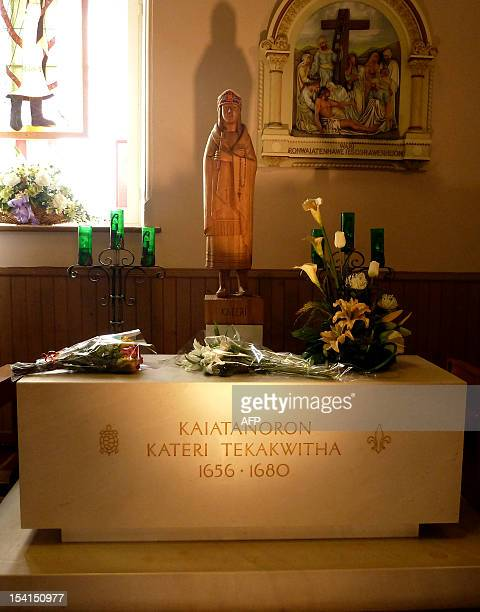 This October 7 2012 image shows a shrine dedicated to Kateri Tekakwitha in a sanctuary in Kahnawake near Montreal in Canada On October 21 2012 in...
