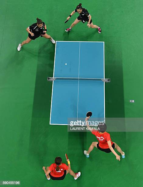 This overview shows Germany's Petrissa Solja and Germany's Xiaona Shan playing in the women's team gold medal final table tennis match against...