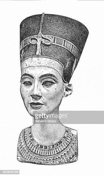 This painted limestone bust of Queen Nefertiti shows her wearing her characteristic crown with the ureaus It was found with many other pieces that...